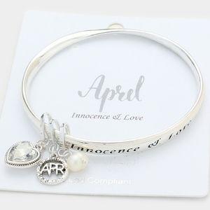 Silver & Clear Heart APRIL Beaded Charm Bracelet